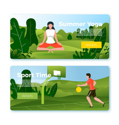 banners - basketball player yoga in park vector image
