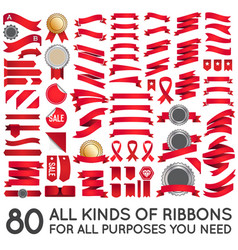 big set of ribbons and labels in retro vector image