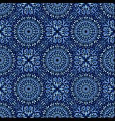 Bohemian steel blue kaleidoscope pattern vector