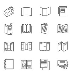 Booklet blank brochure thin line icons set vector