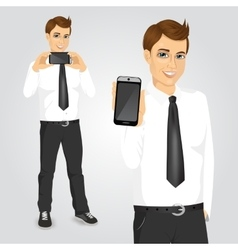 businessman displaying his smartphone vector image