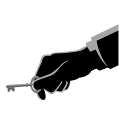 businessman hand holding a key vector image