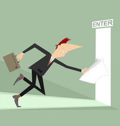 businessman runs into an open door vector image