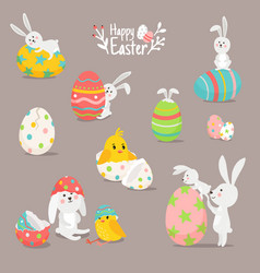 card with bunnies and eggs vector image