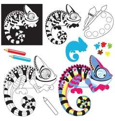 Cartoon chameleon lizard vector