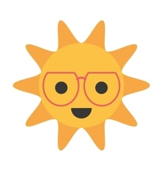 Cartoon funny sun with sunglasses smile vector