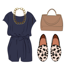 Casual chic styling idea look with romper bag vector
