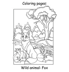 children coloring book page foxes vector image