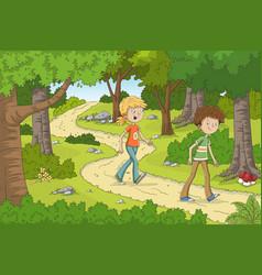 children in forest vector image