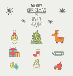 Christmas and New Year icons with a thick stroke vector image
