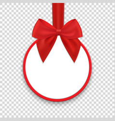 Christmas round paper gift banner with red ribbon vector