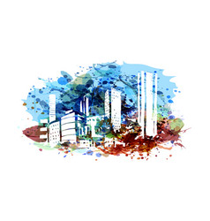 city silhouette on watercolor background vector image