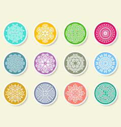Colorful round abstract mandala set on labels vector