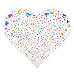 Crown fireworks heart vector