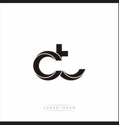 Ct initial letter split lowercase modern monogram vector