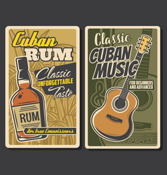 Cuban rum and guitar music havana travel vector