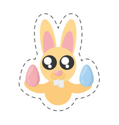 cute bunny with easter eggs - cut line vector image