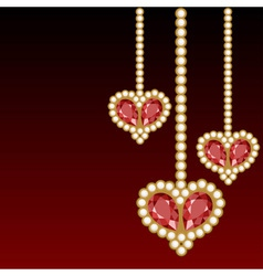 Dark red background with three jewelry hearts vector image