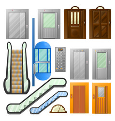 Elevators or escalator lifts isolated icons vector