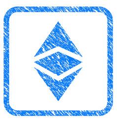 Ethereum classic framed stamp vector