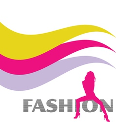fashion and sexy pink girl silhouette vector image