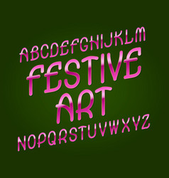 festive art typeface pink golden font isolated vector image