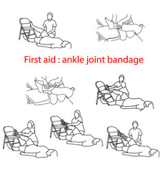 first aid bandage in case of injury of the ankle vector image