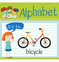 Flashcard letter B is for bicycle vector image
