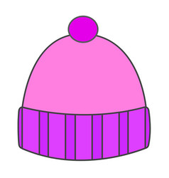 Flat color winter hat icon vector