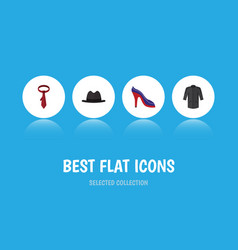 Flat icon clothes set of uniform panama cravat vector