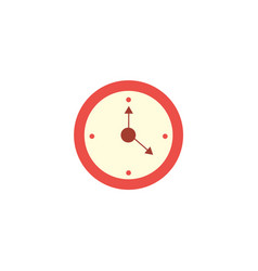 flat style classic red round wall clock icon vector image