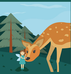 Forest fairy with deer vector