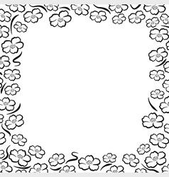 Frame flower line vector