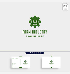 Gear farm logo nature industry symbol signs icon vector