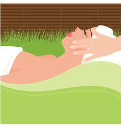 Girl doing massage in the spa salon vector image