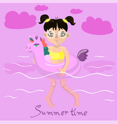 girl swims with an inflatable unicorn image vector image