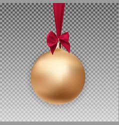 gold christmas ball with ball and ribbon on vector image