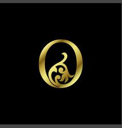 Gold luxury letter o ornament logo alphabet vector