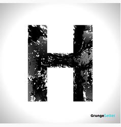 grunge letter h black font sketch style symbol vector image