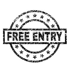 Grunge textured free entry stamp seal vector