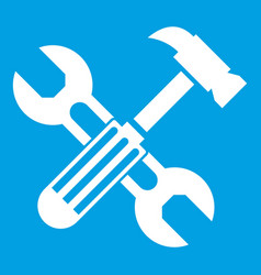 hammer and screw wrench icon white vector image