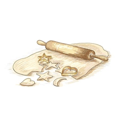 Hand drawn roll dough with cookies vector