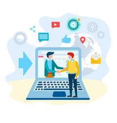 handshake of business partners internet vector image