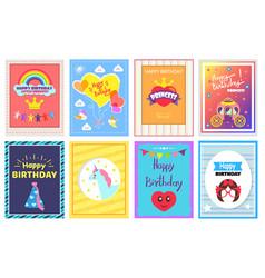 happy birthday princess set vector image