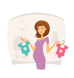 Happy pregnant woman with baclothes vector