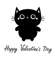 happy valentines day black cat toy icon big eyes vector image