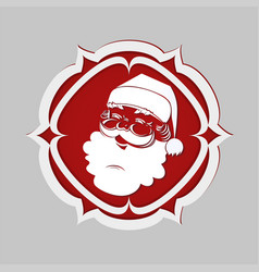 Head of santa claus white in an acute-angled red vector