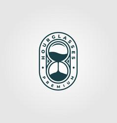 Hourglass logo vintage minimalist design vector
