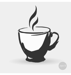 image of ceramic cup of tea or vector image