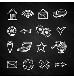 Internet chalkboard icons vector image